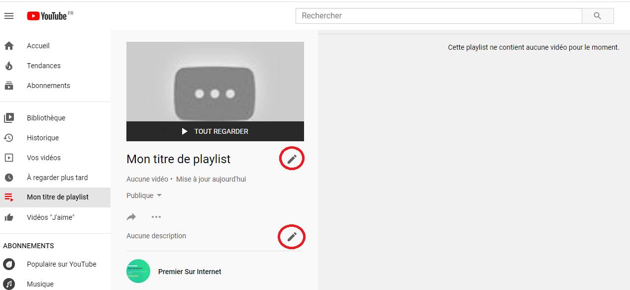 Création d'une playlist sur sa chaîne YouTube