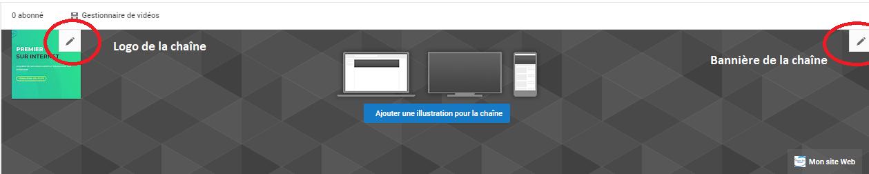 Bouton modifier pour personnaliser le logo et la bannière de sa chaîne YouTube